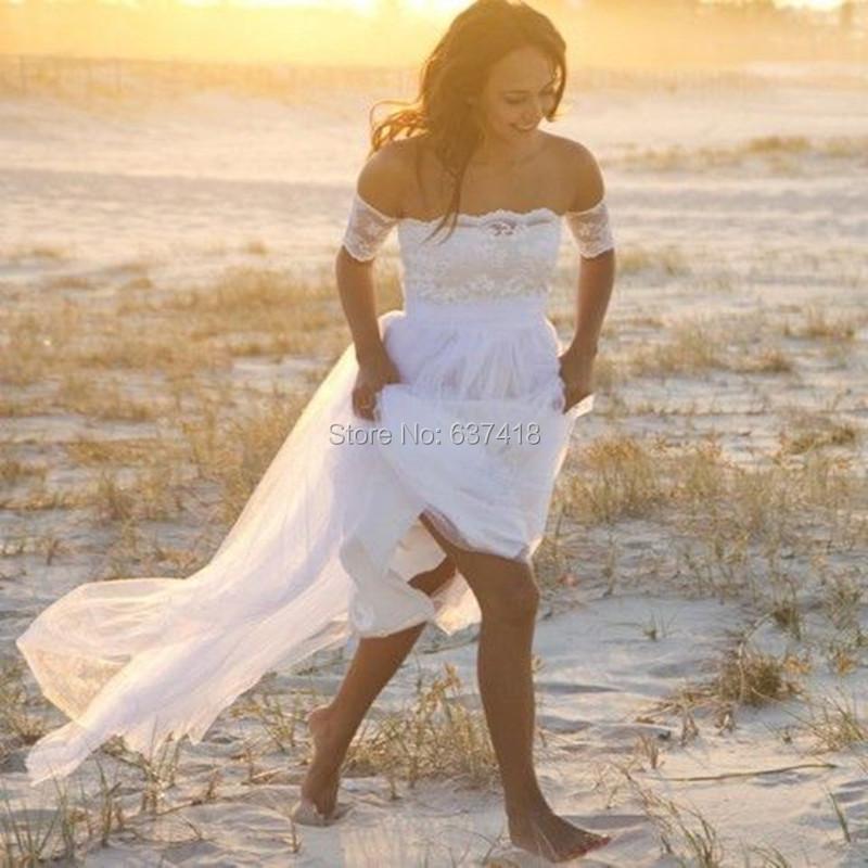 ... Dresses Long Boho Beach. White Ivory Lace Chiffon. Aliexpress com    BuyBeach Bohemian Lace Wedding b6168fe33524