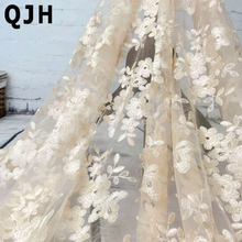 Высококачественная модная французская кружевная ткань, Высококачественная африканская Тюлевая вышитая Цветочная прозрачная сетчатая кру...(Китай)