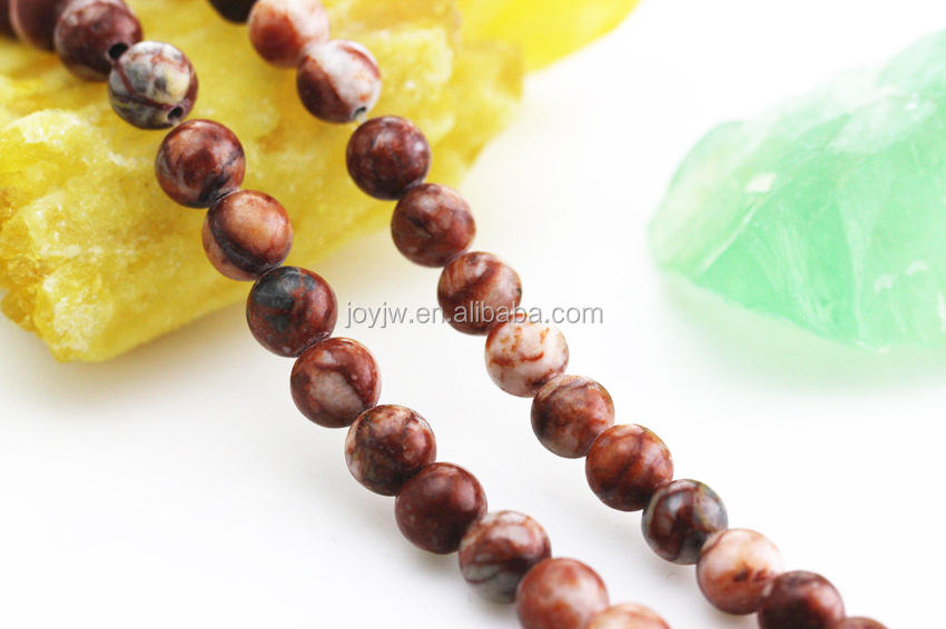 Picture Jasper, Matte Frosted Beads, Gemstone Brown Beads