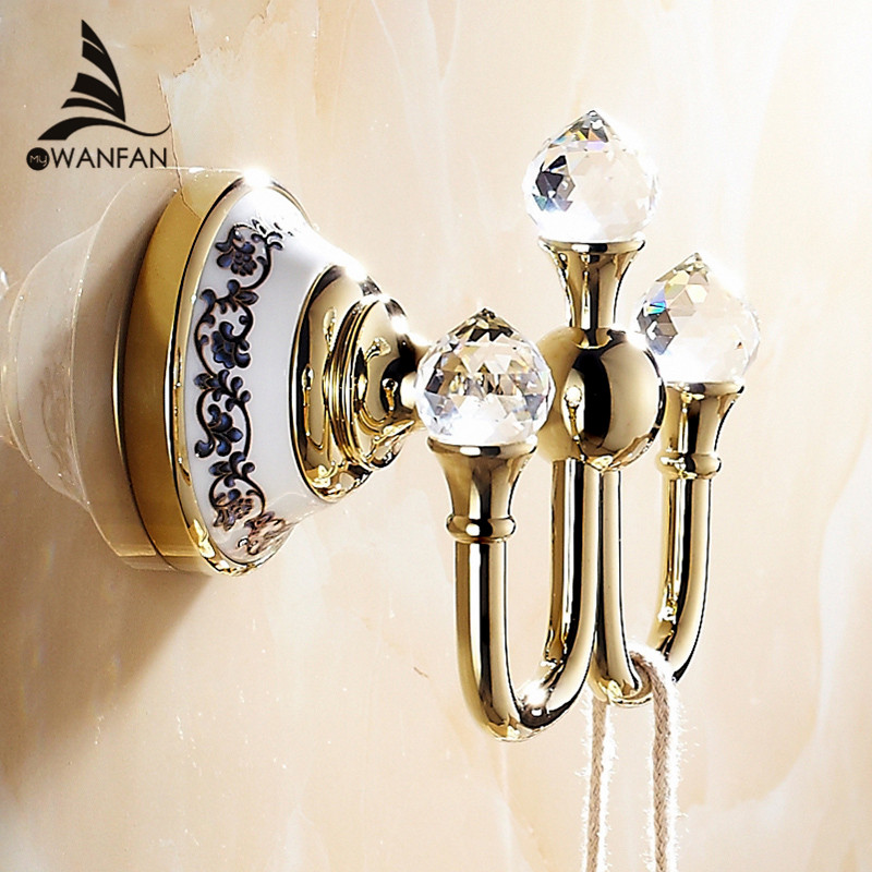 Crystal Bathroom Hardware: Free Shipping Crystal Robe Hook,Clothes Hook Brass Chrome