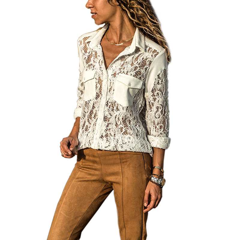 2018 New Summer Women Top Long Sleeve Elegant White Sexy Lace Blouse Femme Hollow Out Ladies Office Shirt Transparent Fashion Blouses & Shirts