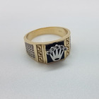 Custom Wide Retro Vintage Diamond Crown Electro Plated Mens 10K Gold Ring