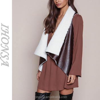 High Fashion Brown Suede Faux Shearling Draped Women Vest Sleeveless Leather Vest HSV6698
