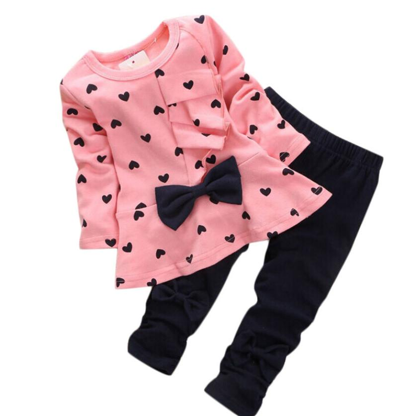 High quality Baby girls clothes Sets Heart shaped long sleeve Print Bow casual Kids Cotton Set