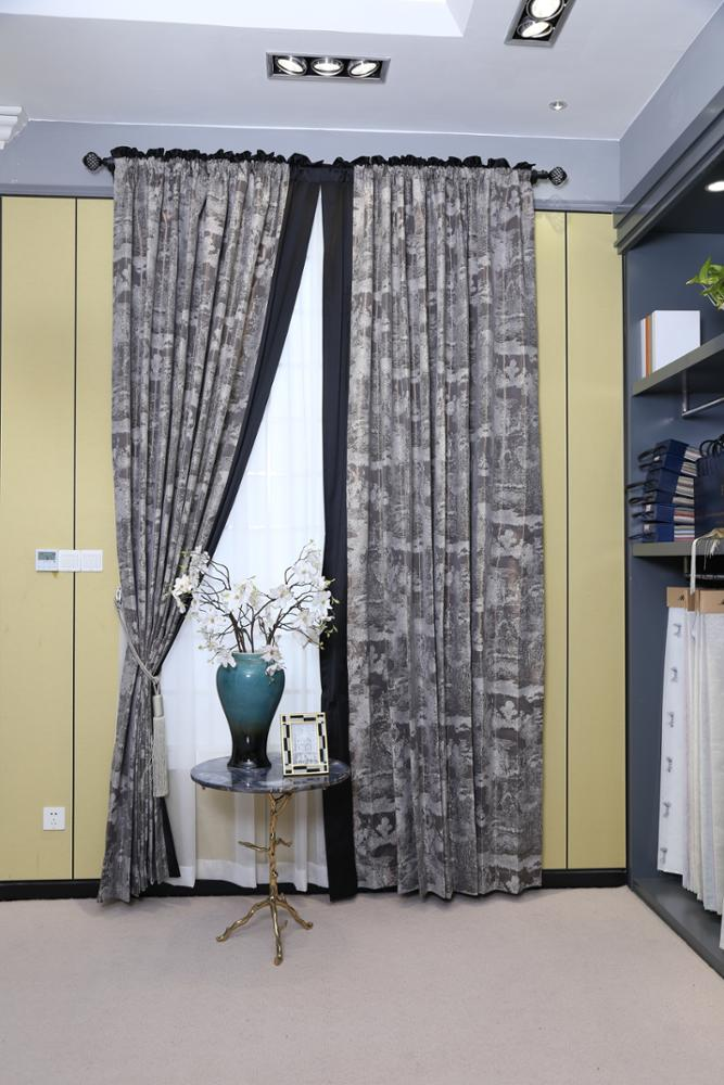 New Style Hotel Window Treatment Ready Made Blackout Curtain Cloth Curtain + Voile Curtain French Window Office Hospital Woven