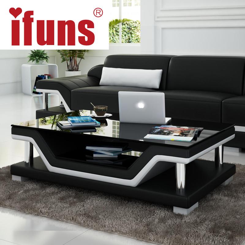 IFUNS Simple Modern Fashion Glass Coffee Table Leather