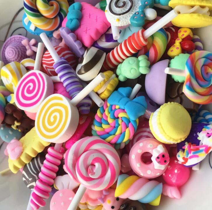 Оптовая продажа, наполнители для изготовления слайма, подвески из смолы в виде сладких конфет, подарки для творчества, чехол для телефона