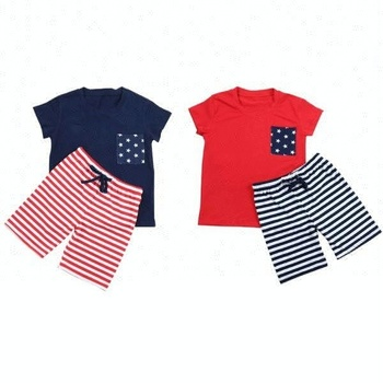 Boys Clothing Sets Kids Summer short sleeve stripe short set baby boys kids children cheap navy Baby Boy Clothes