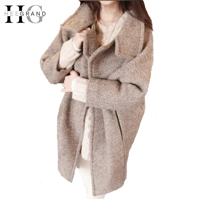 Casaco Feminino 2015 женщин корейский Большой размер сплошной цвет стиль плащ свободно отложным воротником зверь длинное пальто WWN747