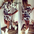2016 New Women Dress Vintage slim Dress Floral Print Ruched Elegant Casual Sexy Women Evening Party