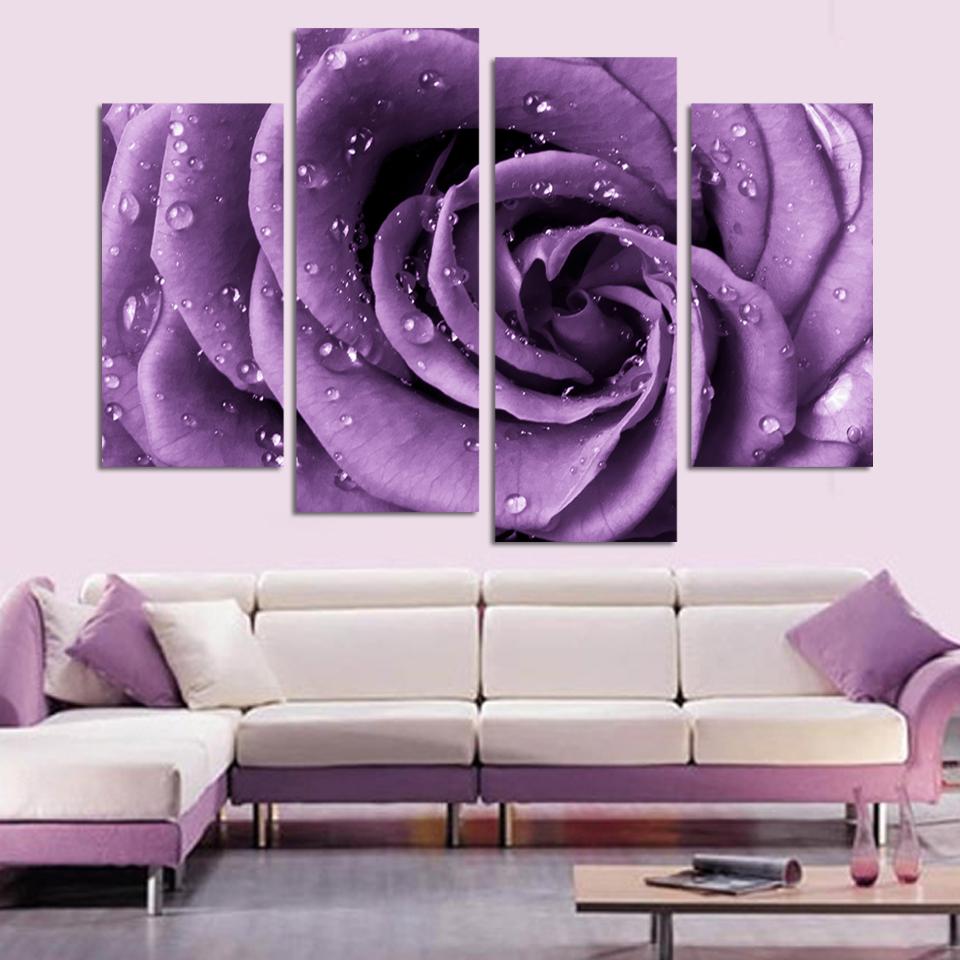 Purple Home Decor: Free Shipping 3 Piece Wall Art White Purple Lover Flower