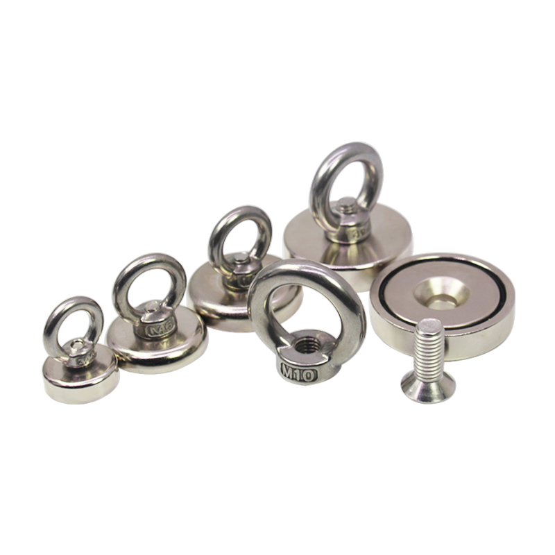 Super strong neodymium household magnets with eyebolt for fishing and holding