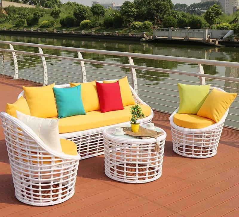 Патио белый PE ротанговый Плетеный наружный 5 шт. садовый диван мебель