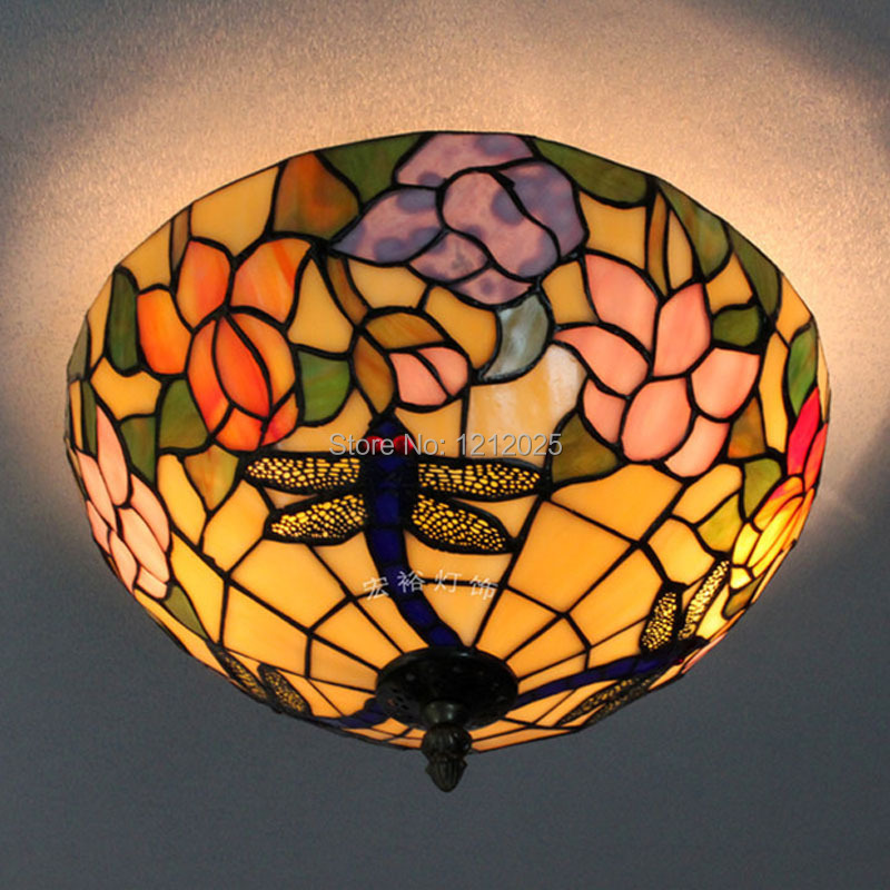 Lustre Tiffany Style Lotus Dragonfly Ceiling Lamp Kitchen