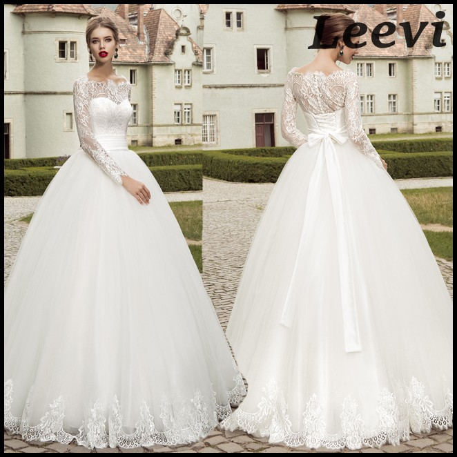 Pnina Wedding Gown: Sexy Vintage Long Sleeve White Lace Wedding Dresses Ball