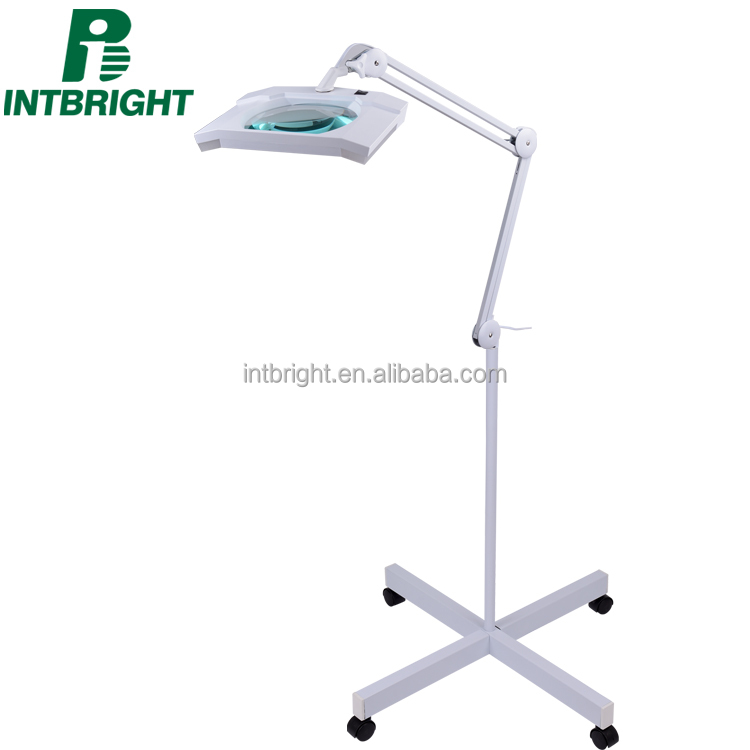 FS1 high quality led magnifying lamp and working lamp 4-Star wheel Rolling floor stand