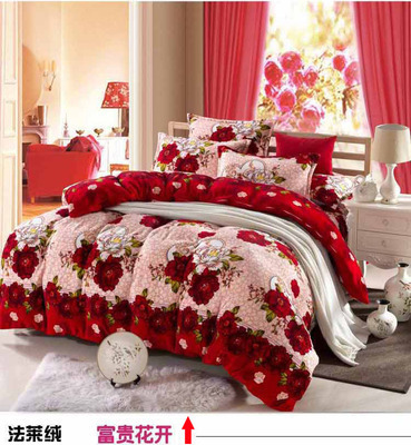 Flower Romantic Luxury Bedding Set 4 pcs/Sheet/Flannel Coral Velvet Comforter Duvet cover