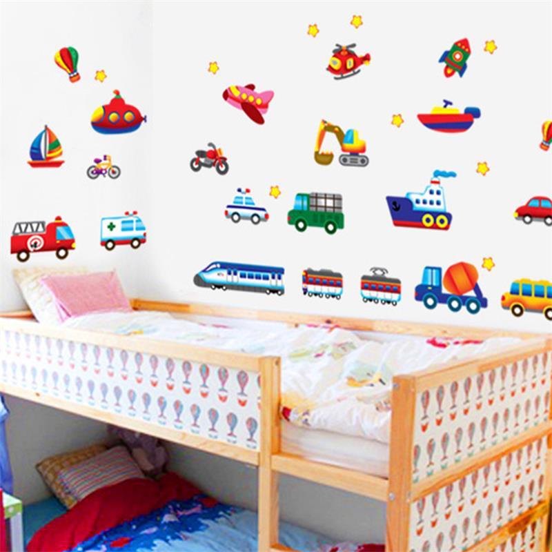 Foam Stickers Babykamer.Sticker For Kids Kid Cartoon Car Plane Stickers For Kid S Room Wall