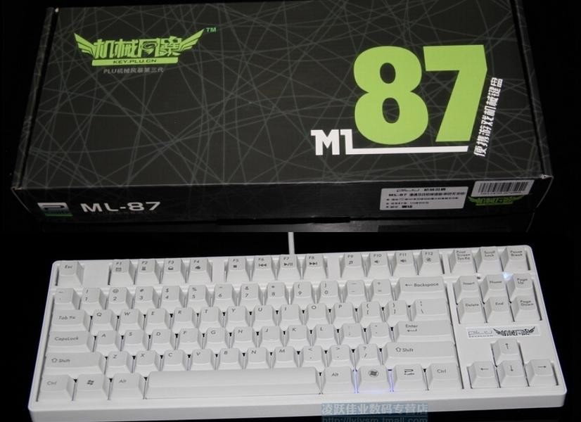 Wholesale-PLU ML-87 Mechanical Gaming Keyboard POM/ABS Keycaps Kailh MX  Black/Blue/Red/Brown Dota 2 White/Black Body