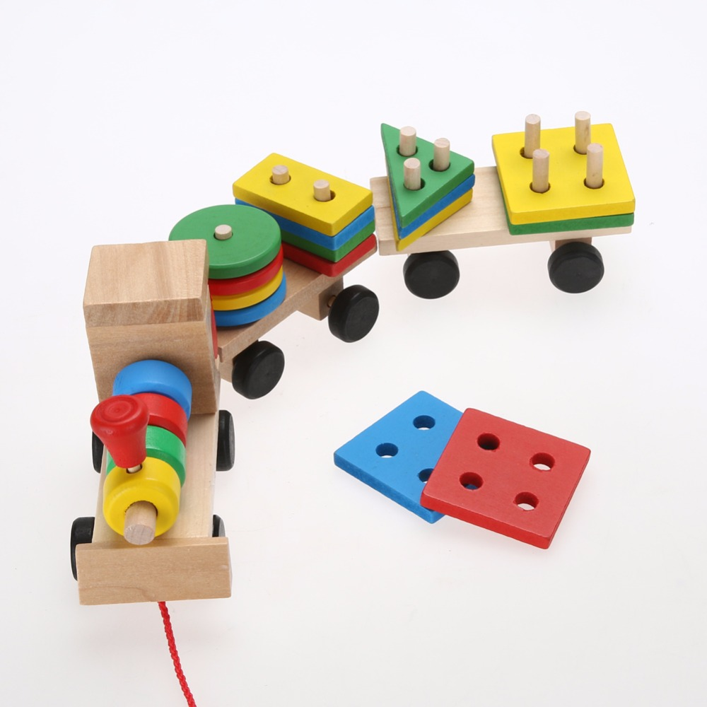Toys Toddler Baby Wooden Stacking Train Fun Vehicle Block Board Game Toy Wooden Educational Toy For Children Xmas Gift