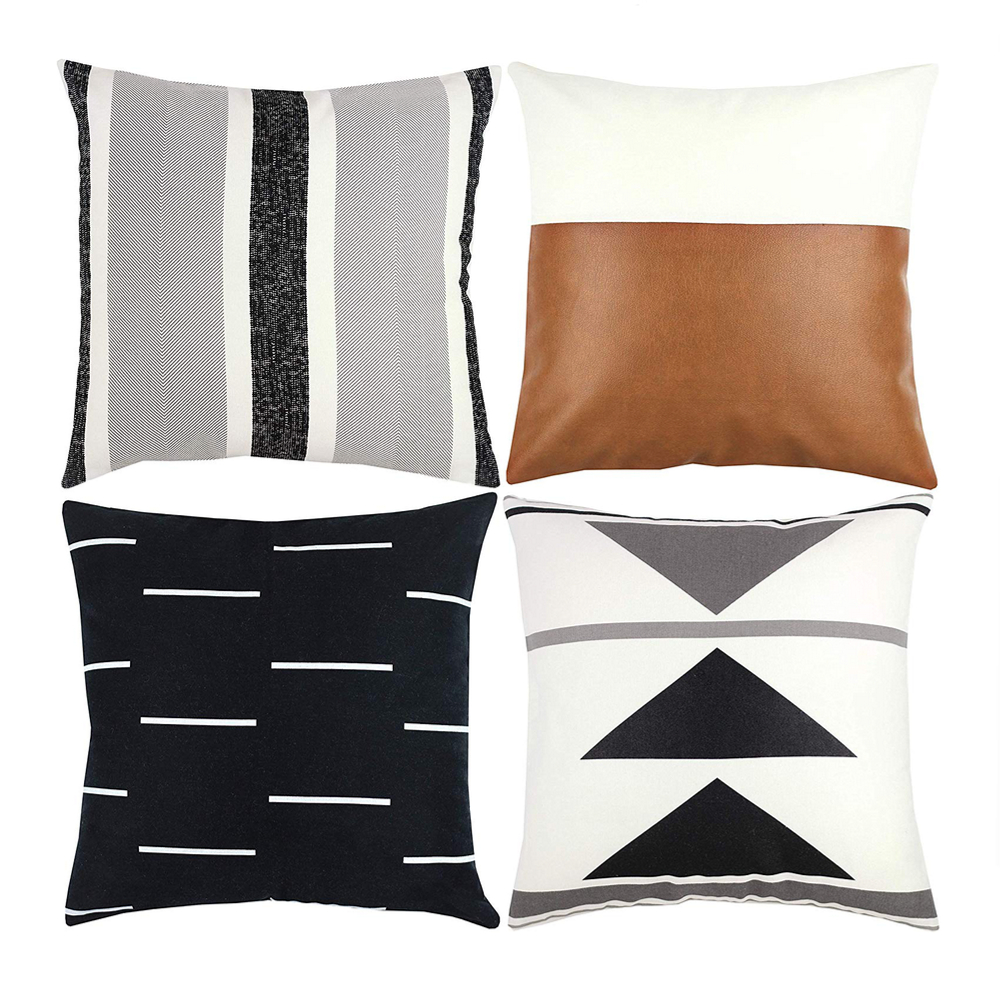 Wholesale New Decorative Throw Pillow Covers Design 100 Cotton Black White Geometric Faux Leather Cover Square Waist Throw Pill Buy Pillow Case Cushion Cover Throw Cushion Cover Product On Alibaba Com