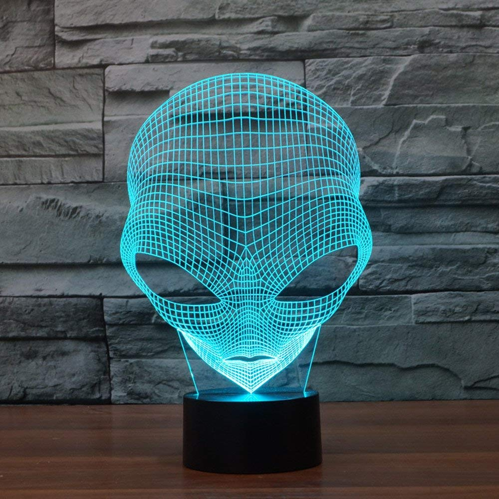 3D Optical Illusion Alien Desk Lamp Unique Night Light for Home Decor 7 Colors Changing USB Powered Touch Button LED Table Lamp