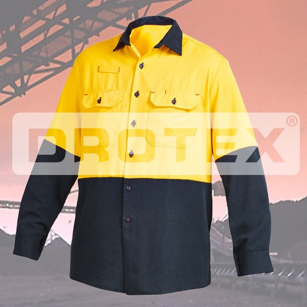 China cheap price Hi-vis yellow flame retardant open front long sleeve safety shirt - KingCare | KingCare.net