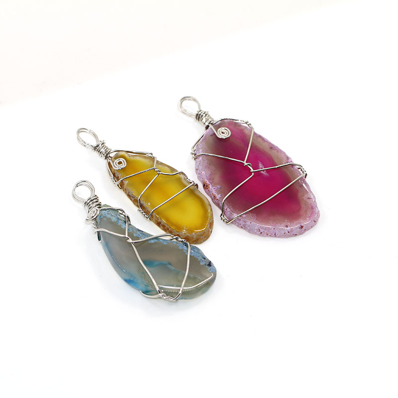 Factory Direct Wire Wrap Colourful Natural Agate Druzy Stone Necklace Pendant Natural Gemstone Jewelry