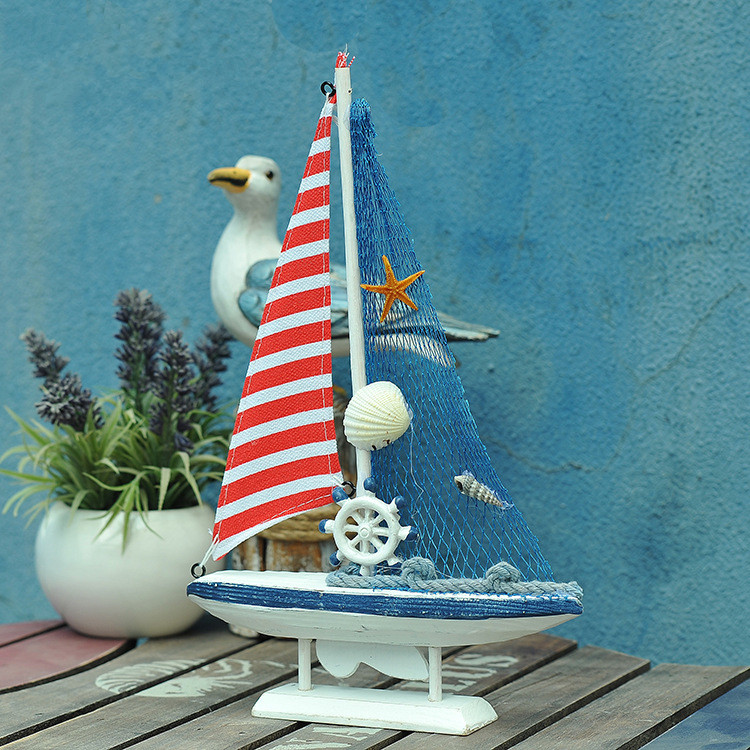 1PC Wooden Saling Ship Model American Mediterranean style Handmade Carved Boat <font><b>Nautical</b></font> <font><b>Home</b></font> <font><b>Decor</b></font> Gifts Crafts