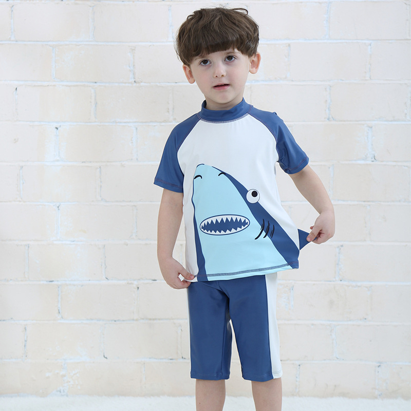 Kids Baby Boys Swimsuit Set Upf 50+ Sun Protection Cartoon Swimwear With  Hat Two Pieces Short Sleeve Summer Swimsuits For Boy - Buy Kids Swimwear  For Boy,Kids Boy Swimwear,Baby Boy Swimwear Product
