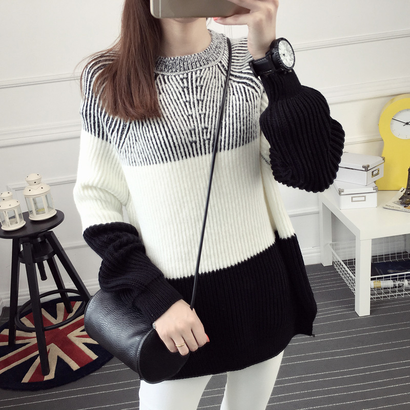 2016 font b winter b font pullover sweater female loose o neck clothes color block placketing