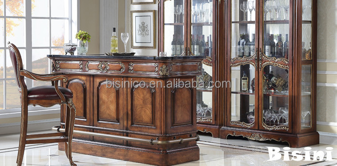 British Classic Bar Counter Desk With Bar Stool Replica