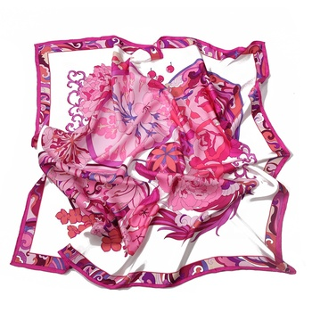 100% Silk Private Label Hijab Floral Printed Satin Silk Scarf for Ladies