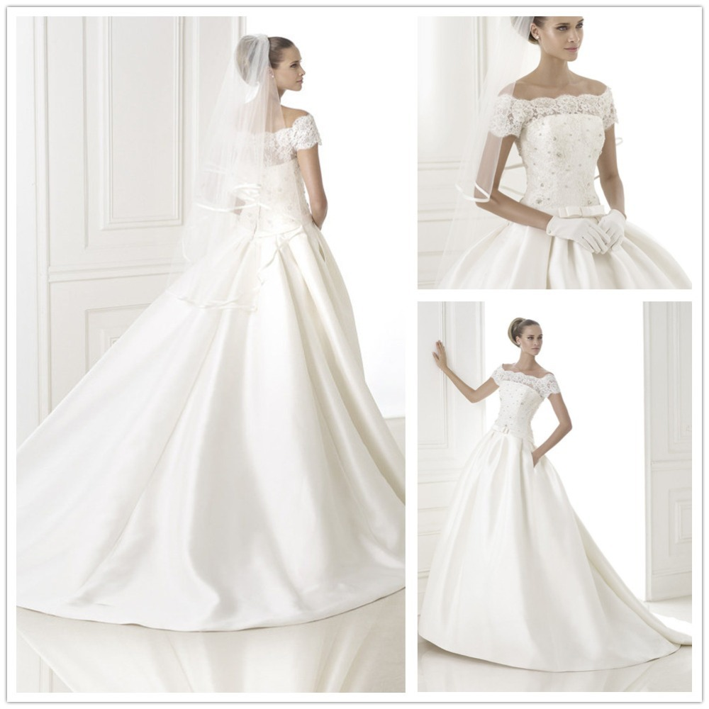 Luxury Off The Shoulder Beaded Bridal Gown Short Sleeve