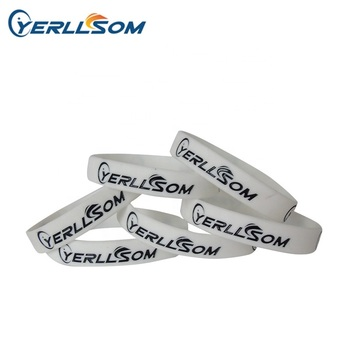Trade assurance Factory produce customized 1/2 inch engrave and color filled Red glow in dark silicone bracelets for vents