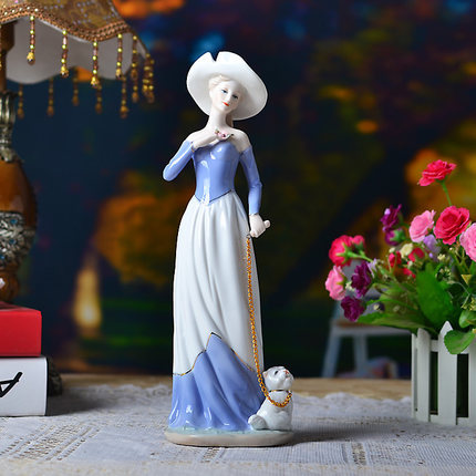 ceramic <font><b>elegant</b></font> woman chinese porcelain figurines walk dog valentine day gift wedding gift <font><b>home</b></font> <font><b>decoration</b></font> tabletop ornamnets 58