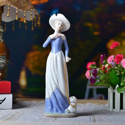 ceramic <font><b>elegant</b></font> woman chinese porcelain figurines walk dog valentine day gift wedding gift <font><b>home</b></font> <font><b>decoration</b></font> tabletop ornamnets 58