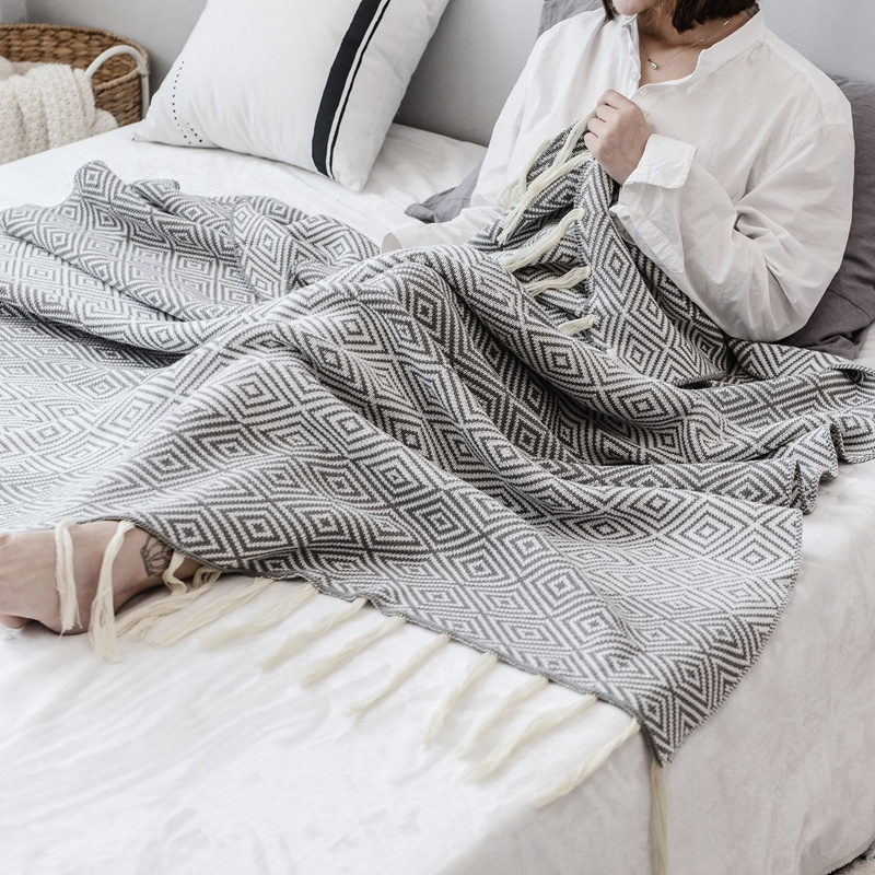 i@home europe style sofa 100% cotton knitted tassel throw blanket
