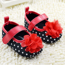 Infant Girls Shoes Soft Bottom Shoes Polka Dot Flower Toddler Shoes Baby Shoes NEW SM67