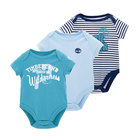 Best Sell 3pcs Baby Clothes Organic Cotton One Piece Baby Romper For Boy