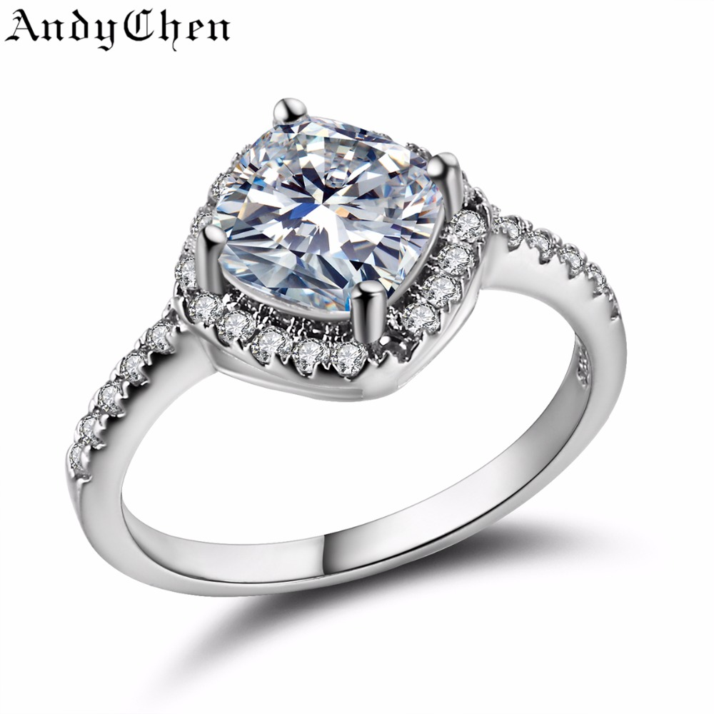AndyChen Wedding Rings for Women Square Silver Plated ...