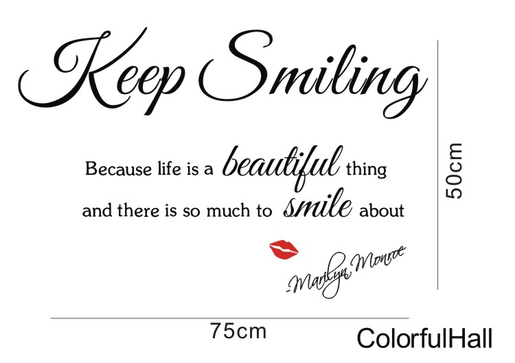 Wholesale Keep Smiling Marilyn Monroe Vinyl Wall Quotes