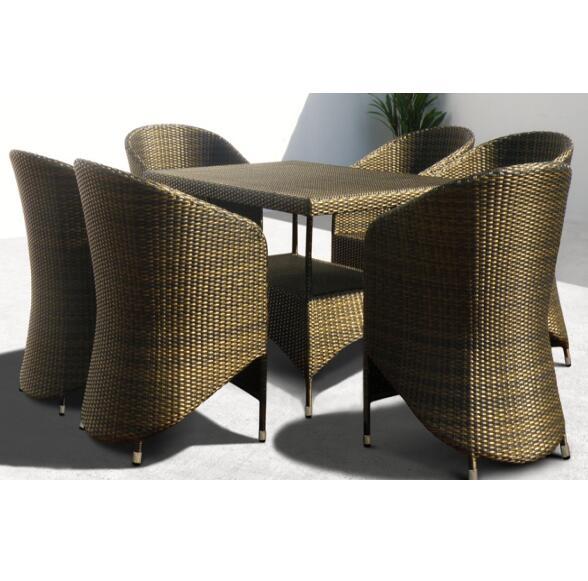 Роскошный маленький квадратный стол, уличный алюминиевый садовый Плетеный обеденный набор из ротанга
