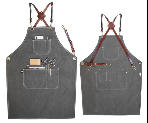 Denim apron waterproof strap barista barber gardening floral work apron custom canvas