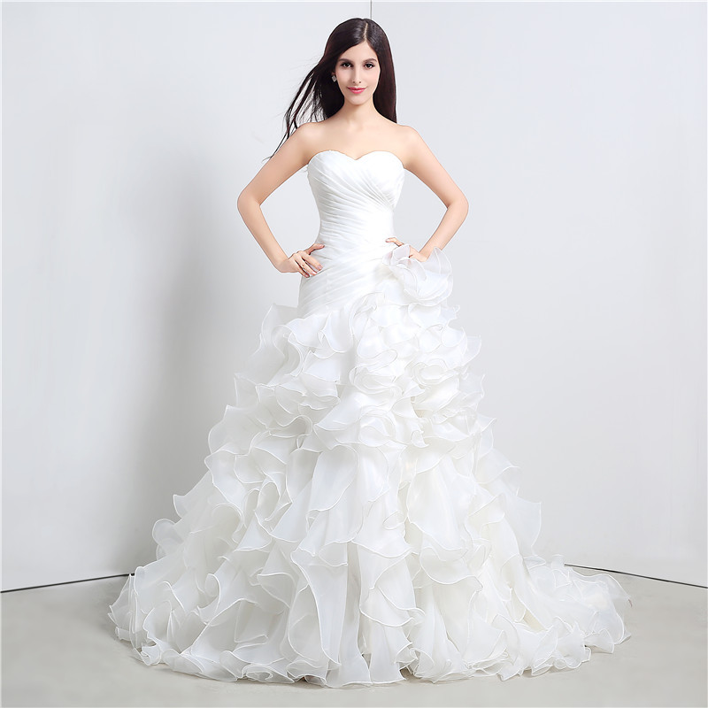 Wedding Gown With Ruffles: Stock Mermaid Wedding Dresses Sweetheart Cascading Ruffles