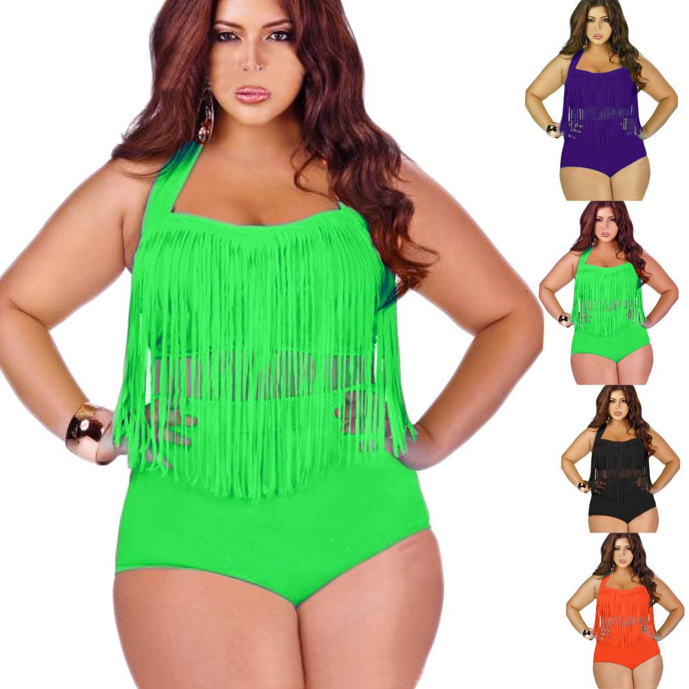 59d3a6b7a06 Large Size Bandage Swimwear Halter Neck Fatkini Women High Waist Swimsuit  Tassel Push Up Bikini Set ...