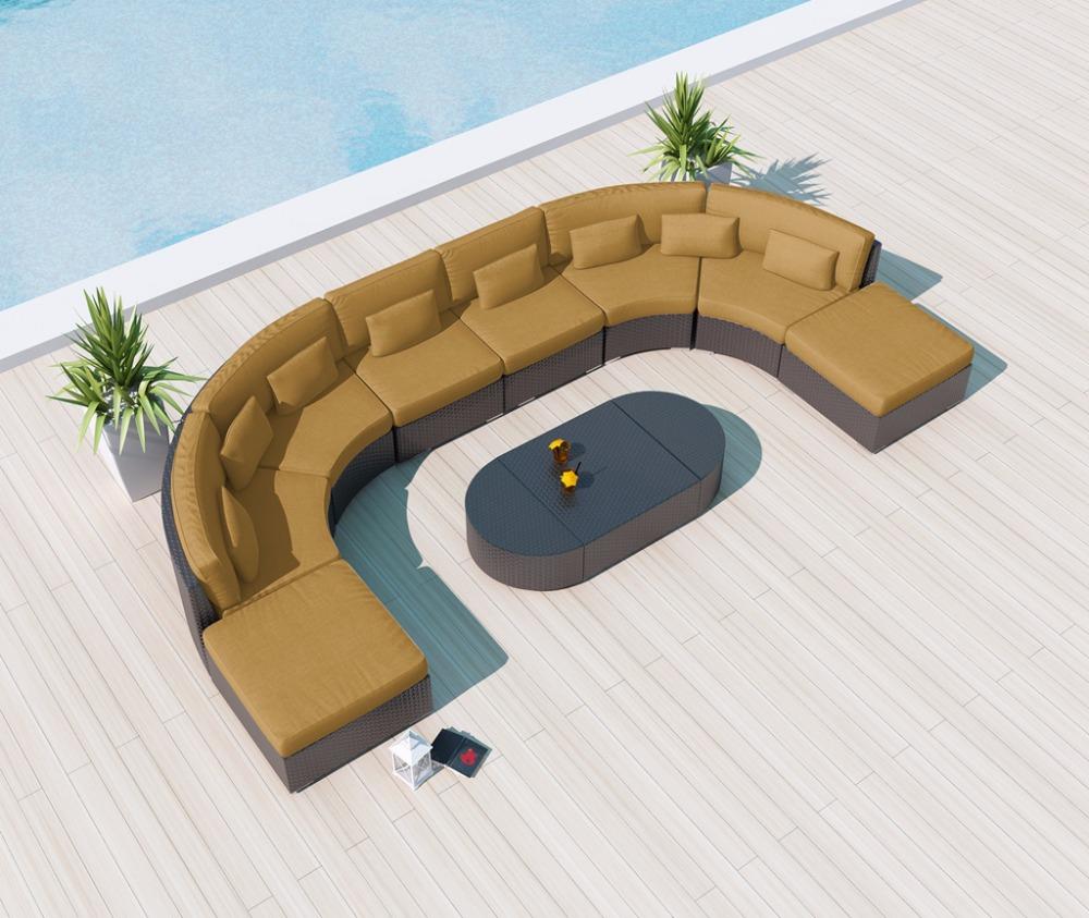 Модульный секционный диван из ротанга, садовая мебель, наружные диваны
