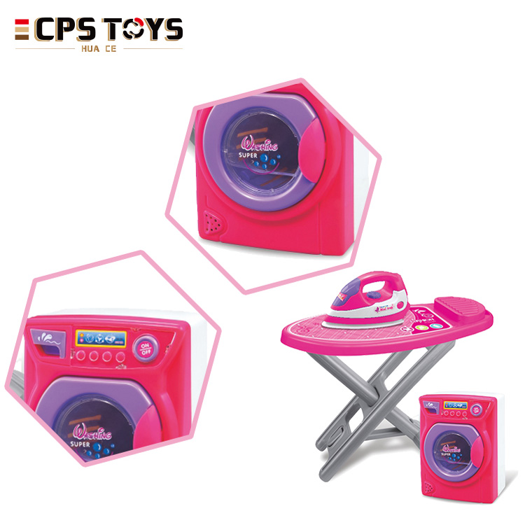 pretend play house toys pink color children washing machine and iron toys