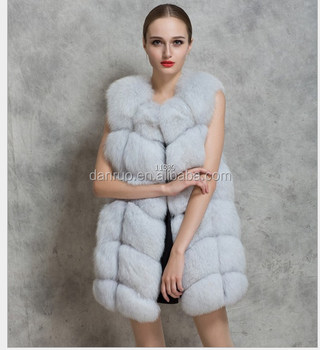 2016 winter coat Faux fox fur coat hooded vest stripe medium-long vest large size women
