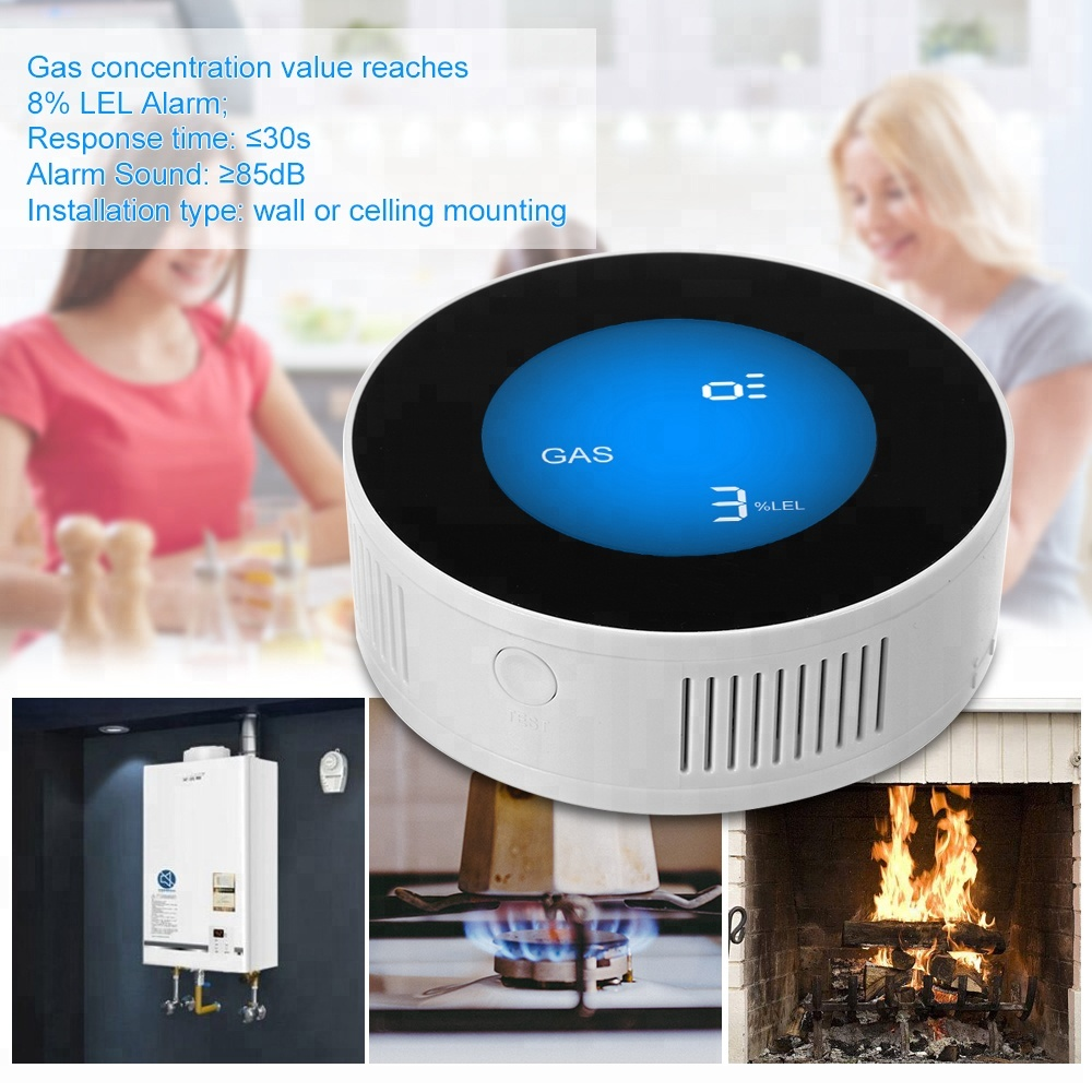 Wireless fire alarm natural gas detector for kitchen with siren LED display SELF test LPG gas leak sensor for canteen 433MHz